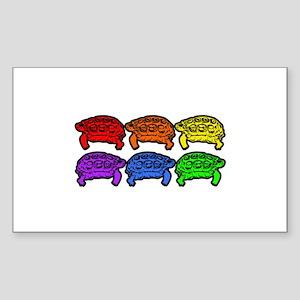 Rainbow Turtles Rectangle Sticker