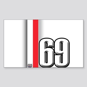 69 Red Whirte Sticker (Rectangle)