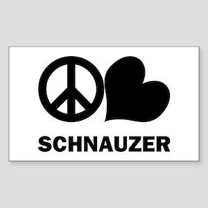 Peace Love Schnauzer Sticker (Rectangle)