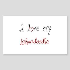 I Love My Labradoodle Sticker (Rectangle)