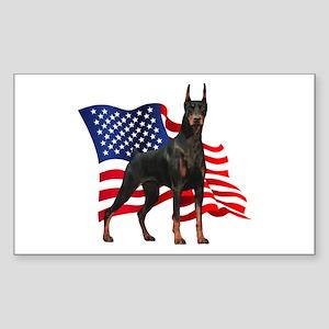 American Flag Doberman Sticker (Rectangle)