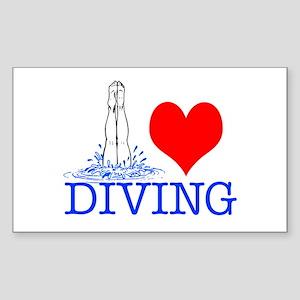 Love (heart) Diving Sticker (Rectangle)