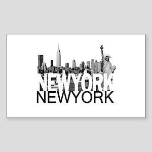 New York Skyline Sticker (Rectangle)