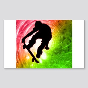 Skateboarder in a Psychedelic Sticker (Rectangle)