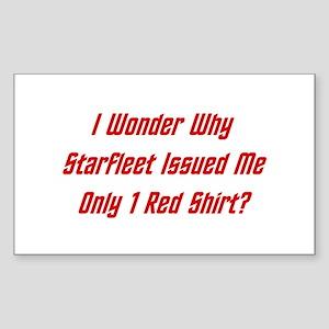 Starfleet: Only 1 Red Shirt? Sticker (Rectangle)
