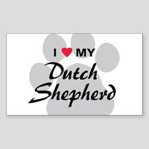 Love My Dutch Shepherd Sticker (Rectangle)