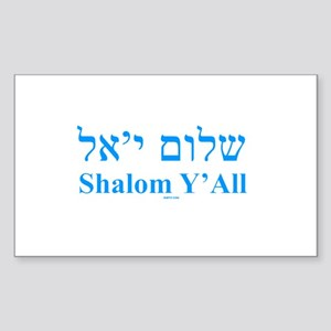 Shalom Y'All English Hebrew Sticker (Rectangle)