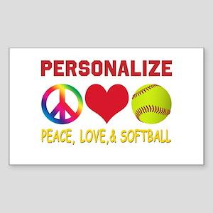 Personalize Girls Softball Sticker (Rectangle)