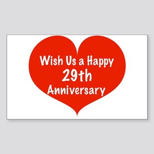 Wish us a Happy 29th Anniversary Sticker (Rectangl