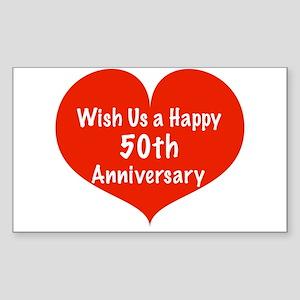 Wish us a Happy 50th Anniversary Sticker (Rectangl