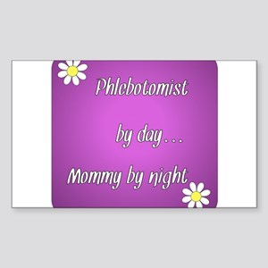 Phlebotomist by day Mommy by night Sticker (Rectan