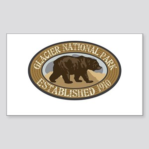 Glacier Brown Bear Badge Sticker (Rectangle)
