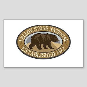 Yellowstone Brown Bear Badge Sticker (Rectangle)