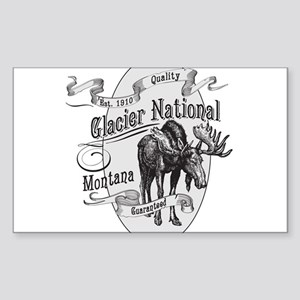 Glacier National Vintage Moose Sticker (Rectangle)