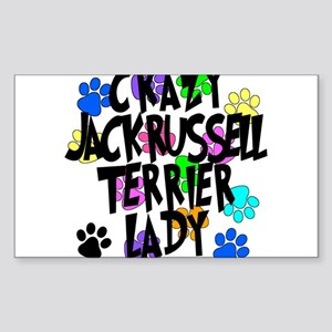 Crazy Jack Russell Terrier Lady Sticker (Rectangle