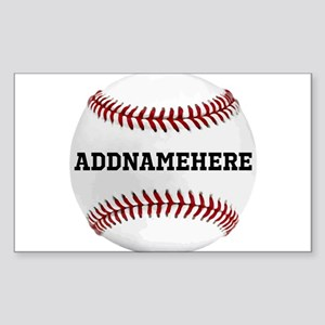 Personalized Baseball Red/White Sticker (Rectangle