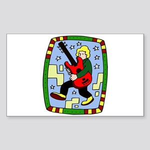 Male carrying 5 string bass graphic Sticker