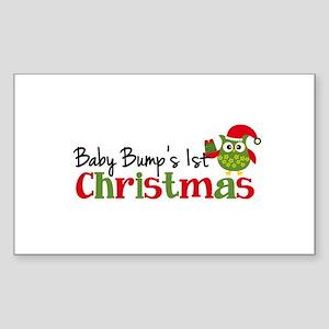 Baby Bump's 1st Christmas Owl Sticker (Rectangle)