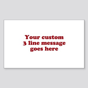 Three Line Custom Message Sticker