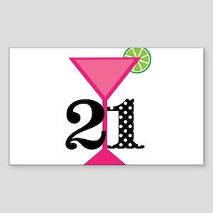 21st Birthday Pink Cocktail Sticker