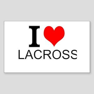 I Love Lacrosse Sticker