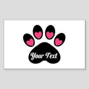 Personalizable Paw Print Pink Sticker