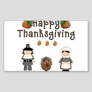 Happy Thanksgiving Pilgrims and Turkey Sticker