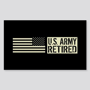 U.S. Army: Retired (Black Flag Sticker (Rectangle)