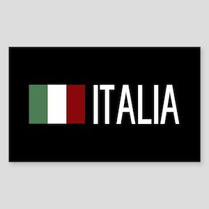 Italy: Italia & Italian Flag Sticker (Rectangle)