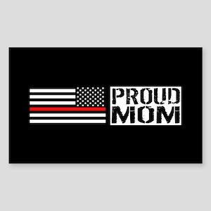 Firefighter: Proud Mom (Black Sticker (Rectangle)