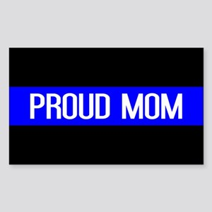 Police: Proud Mom (Thin Blue L Sticker (Rectangle)