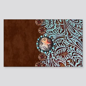 Western turquoise tooled leather Sticker