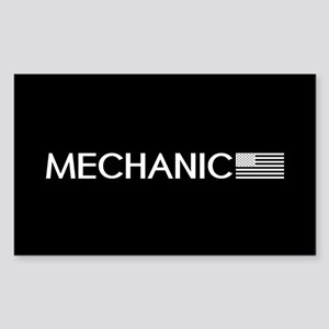 Mechanic: American Flag (White Sticker (Rectangle)