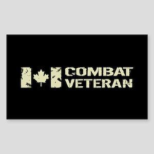 Canadian Flag: Combat Veteran Sticker (Rectangle)