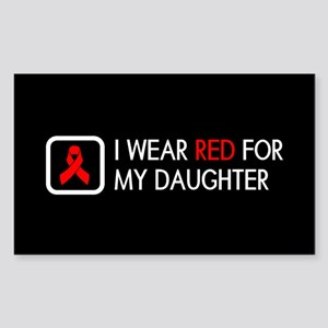 Red Ribbon: Red for my Daughte Sticker (Rectangle)