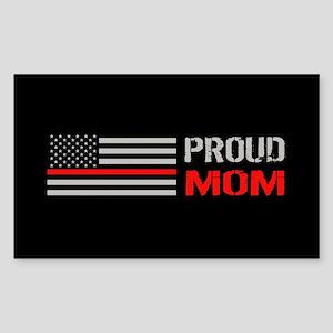 Firefighter: Proud Mom (Black) Sticker (Rectangle)