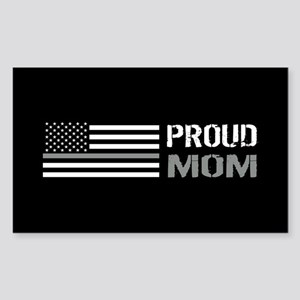 U.S. Flag Grey Line: Proud Mom Sticker (Rectangle)