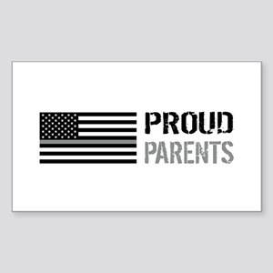 U.S. Flag Grey Line: Proud Par Sticker (Rectangle)