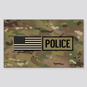 Police: Camouflage Sticker (Rectangle)
