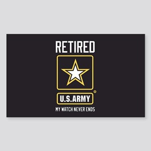US Army Retired Watch Never En Sticker (Rectangle)