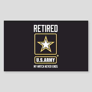 US Army Retired Watch Never En Sticker (Rectangle)
