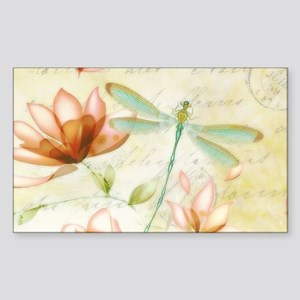 Pink flowers and dragonfly Sticker