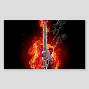 Flaming Guitar Sticker