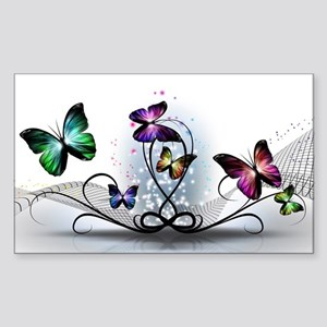 Colorful Butterflies Sticker (Rectangle)