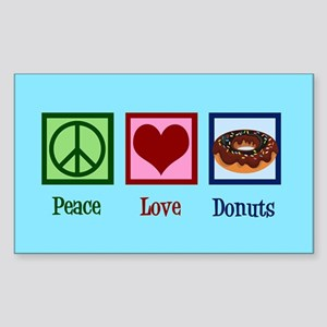 Peace Love Donuts Sticker (Rectangle)
