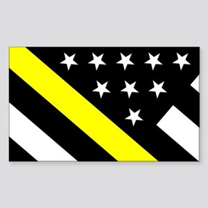 U.S. Flag: Thin Yellow Line Sticker (Rectangle)