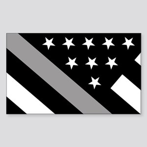 U.S. Flag: The Thin Grey Line Sticker (Rectangle)