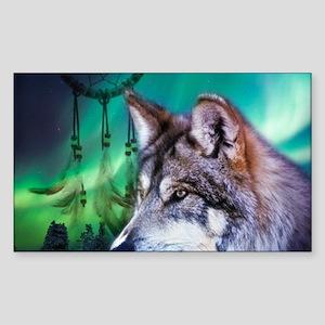 native dream catcher wolf n Sticker