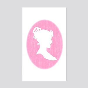 Pink Cameo Rectangle Sticker