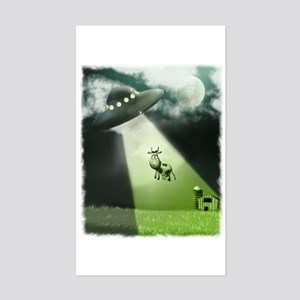 Comical Cow Abduction Rectangle Sticker